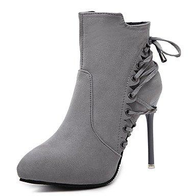 Ch & Tou Botines Para Mujer-formal-otros-a Stiletto-fleece-negro Gris Gris