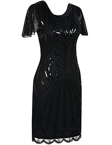 Kayamiya 1920er Jahre Flapper Kleider mit Ärmeln Pailletten Art Deco Cocktail Gatsby Kleid 36-38 Schwarz - 2