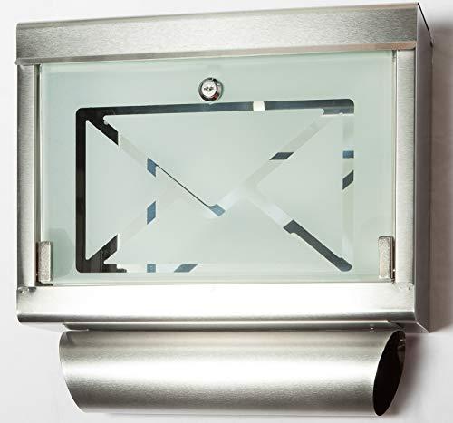 Briefkasten Letter box Edelstahl incl. Zeitungshalter Post Jet-Line Sichtfenster Glas Wandbriefkasten Brief Kasten Neu