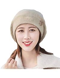 Anmain Basco Cappellino da Donna Berretto Vintage Tinta Unita Maglia  Cappellino Stile Francese Baschi di Lana 22804294700b