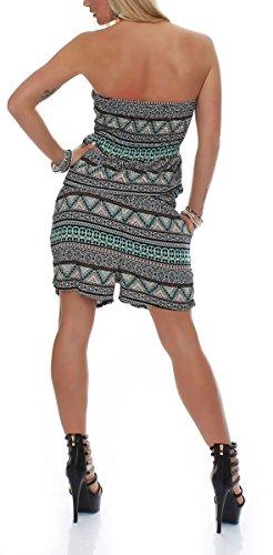 malito Damen Einteiler mit Ethno Muster | kurzer Overall schulterfrei | Jumpsuit mit Stoffgürtel