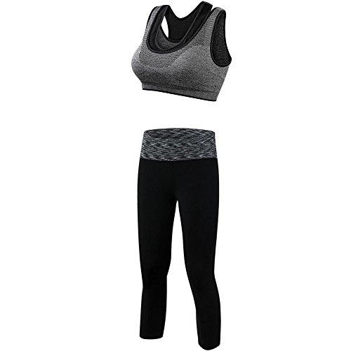 Alando Sport BH Yoga BH Damen Jogginghose Damen Sport Leggings Yoga Hose Trainingshose Sport Bustier (Vintage-Grau, L)