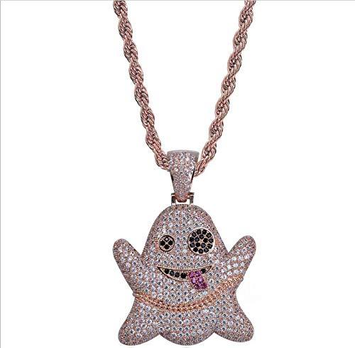 Jiaxingo Ghost Emoji Anhänger Halskette Hip Hop Iced Out Strass Kristall Halskette 18 Karat Vergoldet mit 24