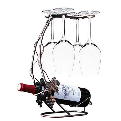 BAIYA Quatre Verres De Casier à Vin, étagère en Verre à Vin en Fer Forgé - Pendaison Gobelet Grille Bar Cuisine
