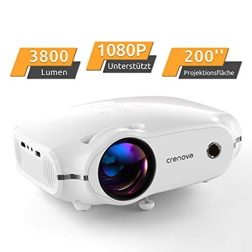 """Beamer, portabler Crenova Mini Projektor unterstützt 1080P, HD Beamer mit 200"""" Bildgröße und 3800 Lumen für PC/MAC/DVD/TV/Xbox/Filme/Spiele/Smartphone mit kostenlosem HDMI-Kabel, weiß."""