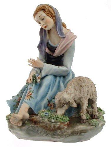 Capodimonte Mädchen Figur mit Ziege Germano Cortese 326–negr33