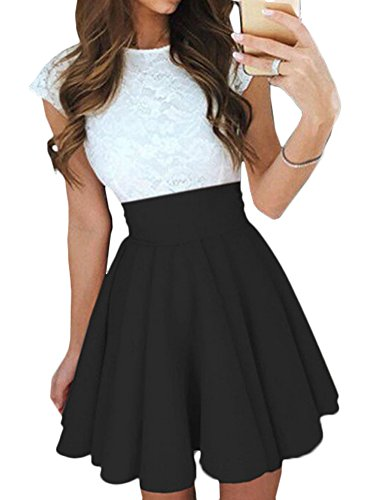 Elevesee Women's Lace A-line Sleeveless Pleated Cocktail Party Skater Skirt Dress Black Medium