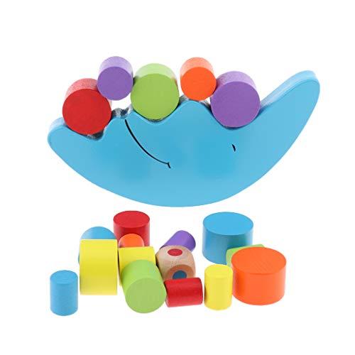 Unbekannt Homyl Bunt Holzbausteine Balancierspiel Stapelspiel Stapel Spielzeug für Kinder ab 6 Monaten, Mond Form - Kinder Stapeln Spielzeug