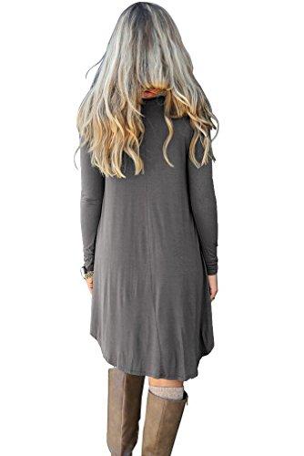 POSESHE Frauen Langarm Tasche Casual Loose T-Shirt Kleid Dunkelgrau