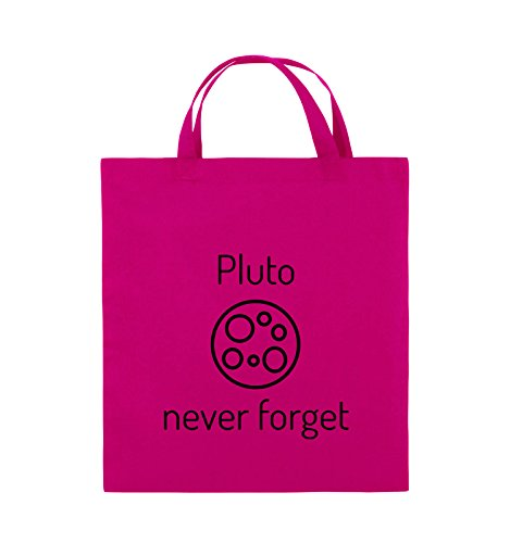 Comedy Bags - Pluto never forget - Jutebeutel - kurze Henkel - 38x42cm - Farbe: Schwarz / Silber Pink / Schwarz