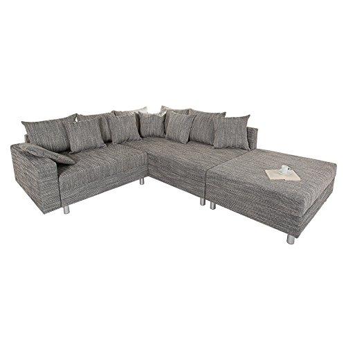 Design Ecksofa mit Hocker LOFT Strukturstoff grau Federkern Sofa Ottomane beidseitig aufbaubar