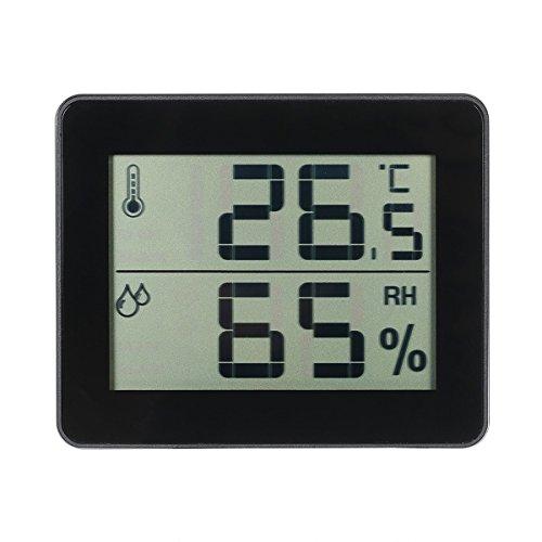 GZQ, Digitales Thermometer für den Innenbereich, Luftfeuchtigkeitsmessgerät mit LCD-Display Schwarz  -