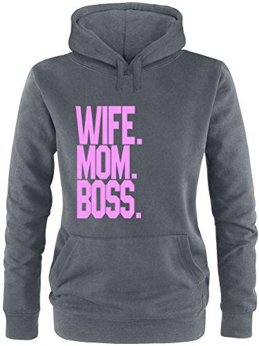 EZYshirt® Wife.Mom.Boss. Damen Hoodie Anthrazit/Rosa