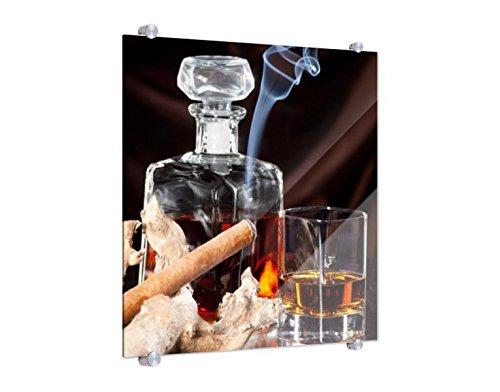 Klebefieber Spritzschutz Zigarre und Whisky im Glas B x H: 50cm x 50cm