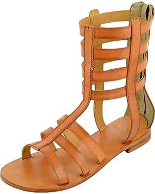 Flori Women's Tan Canvas Gladiator Boots - 10 UK