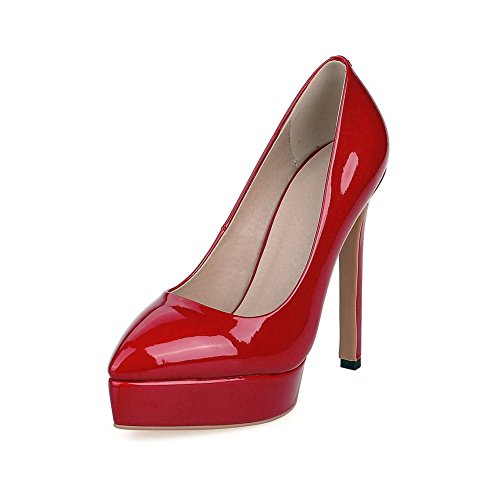 VogueZone009 Donna Luccichio Tacco Alto Scarpe A Punta Puro Tirare Ballerine Rosso