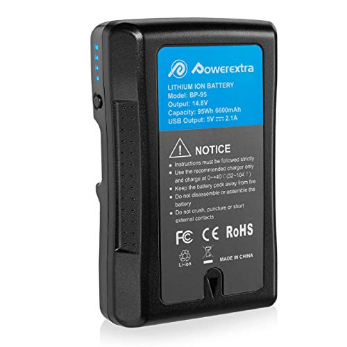 Powerextra Batterie V-Mount pour Sony BP-95W Appareil Photo Sony 6600 mAh et 95 Wh