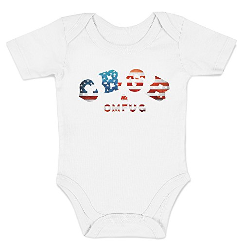 Punk-baby Onesies (LaMAGLIERIA Jersey Body für Babys CBGB Usa Flag - Onesie Punk Rock 100% Baumwolle Body, 3-6 Monate, Weiß)