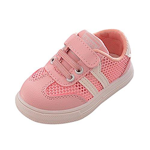 SOMESUN Fashion Baby Jungen Mädchen Sport Schuhe Kinder Hohl Weiche Sohle Elastisch Atmungsaktiv Mesh Klassisch Gestreift Beiläufig Freizeit Turnschuhe (EU25, Rosa)