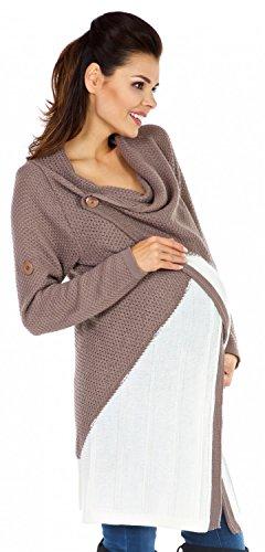Zeta Ville Maternité - Cardigan grossesse - Gilet Cascade - femme 351c Cappuccino