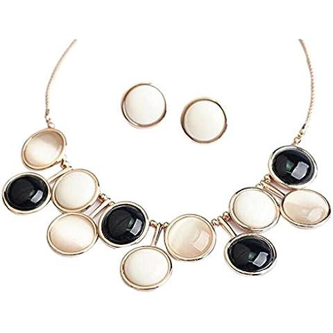 Resina Frash Eyekepper blanco juego de collar con colgante en forma de pendientes de botones negros
