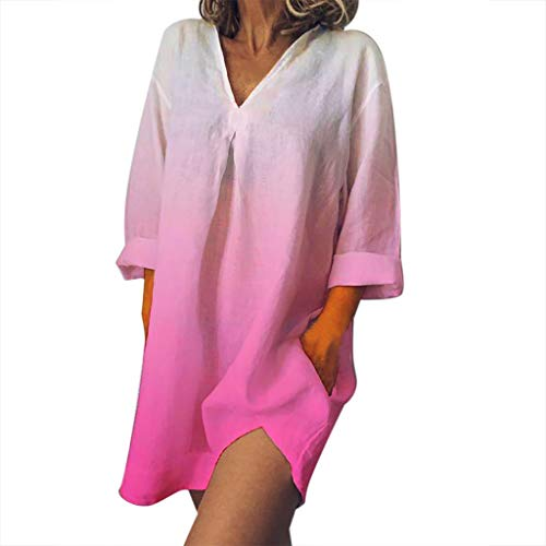 iYmitz Damen Sommerkleid Einfarbig Leinen V-Ausschnitt Minikleid Freizeit Kurzarm Lose Kleider Für Frauen(X4-Rosa,EU-42/CN-2XL) (Verleih Kostüm Prinzessin)