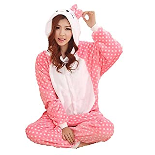 Unisex Einteiler-Pyjama, Flanell, Hello Kitty-Design, gepunktet, Rosa Blau blau S (155-160cm)