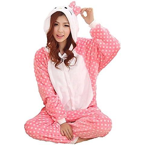 Invierno Cálido Franela Onesie pijama adulto Unisex una pieza rosa lunares Hello Kitty pijama, azul, M (160-165