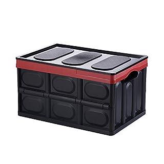 Aojia Klappbox Kunststoff Box Klappkiste Einkaufskorb Faltbox Kunststoff Transportkiste 53X36X29cm, AJ6102blackB