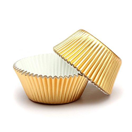 TOOGOO Papier Fuer Kuchen Tasse Cupcake Case Liner Muffin Kueche Backen Hochzeitsfeier - 50pcs Gold