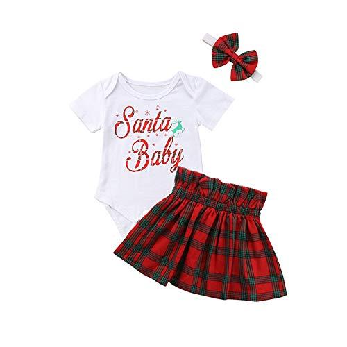 MEIbax Infant Baby Mädchen Buchstaben Tops Overall Strampler Jumpsuits + Plaid Röcke +Stirnbänder Outfits Weihnachten Kleidung Set