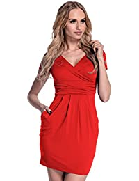 Glamour Empire. Women's Wrap V-Neck Jersey Pencil Dress with Pockets M-2XL. 806