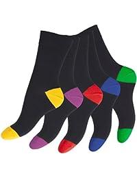 Footstar Herren und Damen - 10 Paar Baumwoll Socken für Sie und Ihn, Spitze und Ferse bunt Funsocken