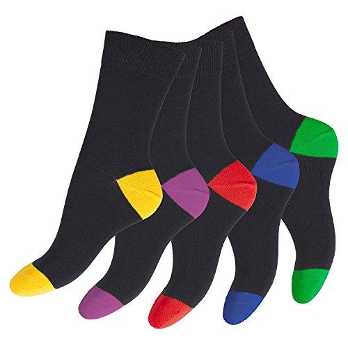 10 Paar Footstar Socken für Sie & Ihn Schwarz mit farblich abgesetzer Ferse und Spitze-35-38 (Mädchen-socken Pack)