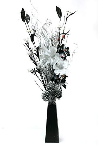 Fatte a mano, nero, argento & bianco bouquet. free vaso in legno nero. si illumina. 20 luci e 3 batterie aa incluse. altezza 85 cm.