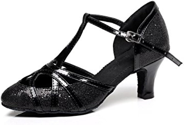 JSHOE Para Mujer Cerrado Punk Tacón Alto PU Cuero Brillo Salsa Tango Ballroom Latin T-Strap Dance Shoes,Black-heeled6cm-UK6.5...