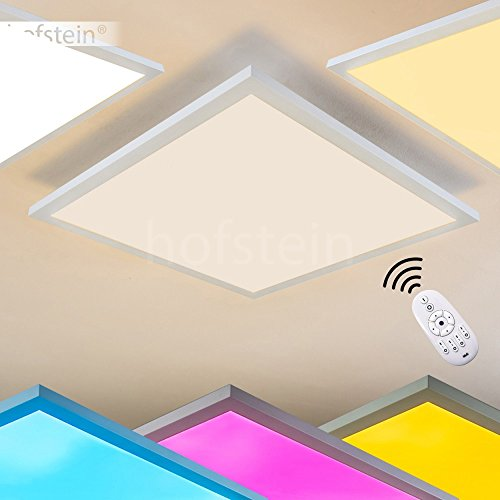 LED Deckenpanel Wabos, quadratische Deckenleuchte aus Metall in Weiß, dimmbare Deckenlampe mit RGB Farbwechsler u. Fernbedienung, 28 Watt, 2200 Lumen, Lichtfarbe 3000 Kelvin 45 Lumen-led