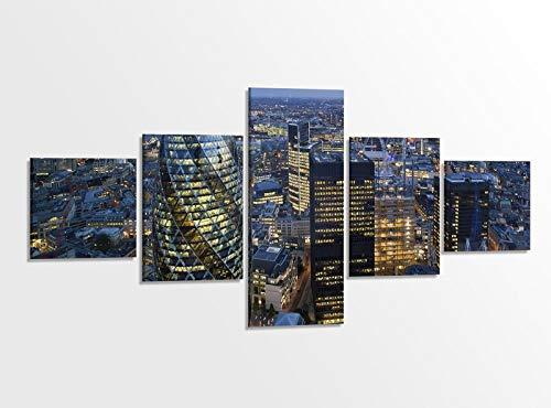 Leinwandbild 5 tlg. 200cmx100cm London Skyline Wolkenkratzer Stadt Nacht Bilder Druck auf Leinwand Bild Kunstdruck mehrteilig Holz gerahmt 9AB435