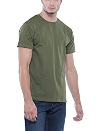 Bewakoof Army Green Plain Half Sleeve Men's Round Neck T-Shirts