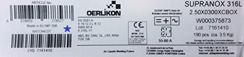 Preisvergleich Produktbild Oerlikon Supranox 316 L - 2,5x300 mm 190 Stück / ca.3,5 kg