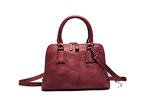 Bvane® Medium Zip Women Full Grain Leather Vintage Handbag Shoulder Bag Tote Handbag - Red