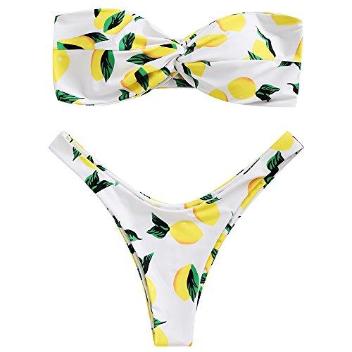 Zaful Donna Sexy Mare Bikini Estivi a Due Pezzi a Fascia Motivo a Limone Costume da Bagno Imbottito, Perizoma Gamba Alta (bianco, S)