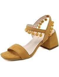 GLTER Mujeres Ankle Strap Bombas Ball Ball Joyería De Lado Con La Cabeza Cuadrada De Tacón Alto Sandalias Zapatos Zapatos Al Aire Libre Sandalias Corte Zapatos , yellow , 34