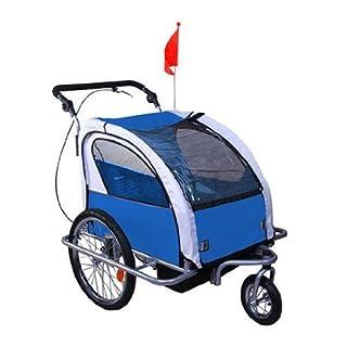 HOMCOM 360° Drehbar Kinderanhänger 2 in 1 Fahrradanhänger Jogger 5 Farben NEU (Blau-Grau)