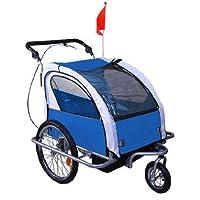 Homcom 360° Drehbar Kinderanhänger 2 in 1 Fahrradanhänger Jogger 6 Farben NEU