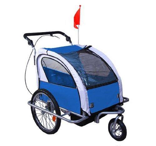 Homcom 5664-0101BG 360° Drehbar Kinderanhänger 2 in 1 Fahrradanhänger Jogger, blau/grau