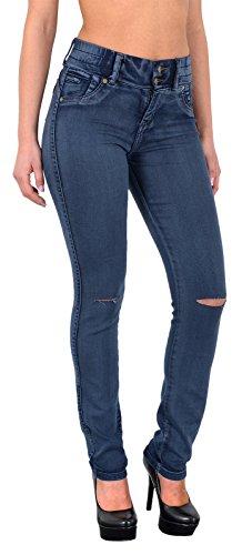 by-tex Damen Jeans Hosen Damen High Waist Jeanshosen Risse am Knie Skinny Stretch Hochschnitt Hose bis Übergröße Z72 J84