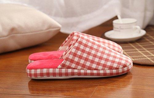 Fansela Pantoufle couple en coton carré chaussons chaud pour automne/hiver anti-dérapant peluche confortable à la maison Rose