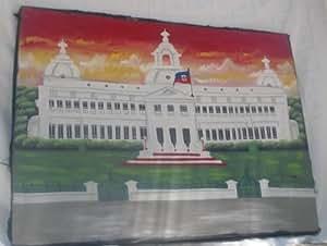 """Tableau Haitien """" Palais D'haiti"""" Fait En Toile Par Des Peintres Haitiens."""