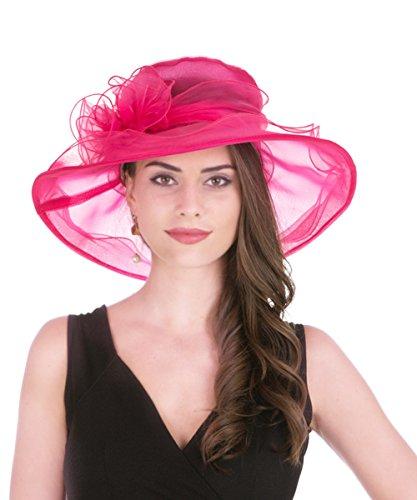Damen Kirche Hut (Lucky Leaf Frauen Organza Kirche Hut Breite Krempe floralen Band charmante Kappe für Abendgesellschaft (Rose Pink))